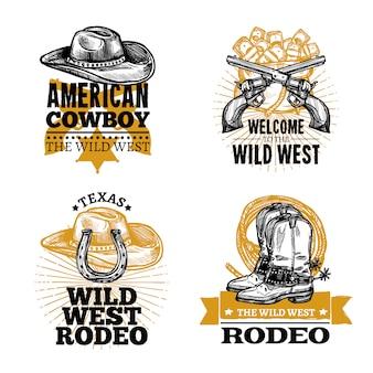 Retro emblematy kowboja