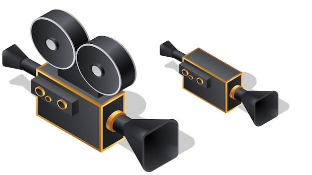 Retro film kamery isometric ikony, kreskówka wektor