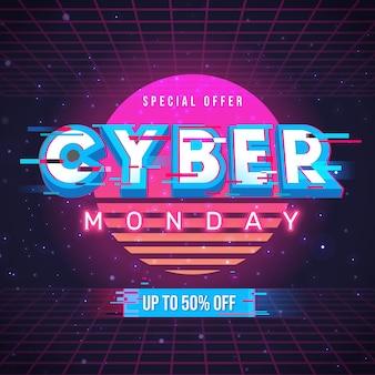 Retro futurystyczna koncepcja cyber poniedziałek