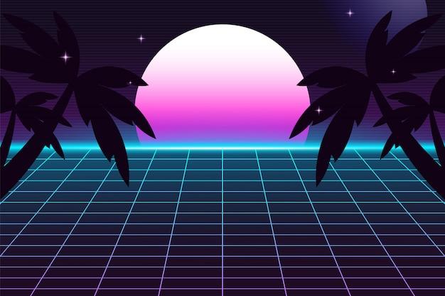 Retro futurystyczne tło z palmami