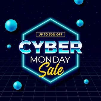 Retro futurystyczny baner cyber poniedziałek
