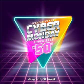 Retro futurystyczny cyber poniedziałek banner