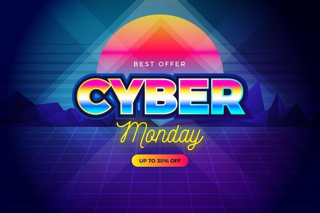 Retro futurystyczny cyber poniedziałek o zachodzie słońca