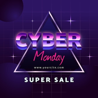 Retro futurystyczny cyber poniedziałek rozjaśnia gwiazdy
