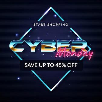 Retro futurystyczny cyber poniedziałek rozpocząć zakupy