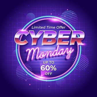 Retro futurystyczny cyber poniedziałek tło