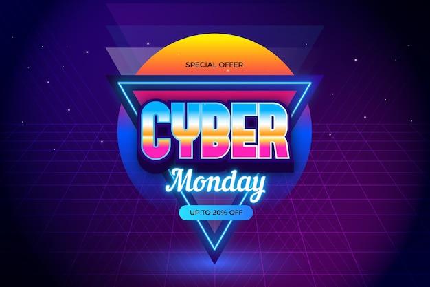 Retro futurystyczny efekt cyber poniedziałek lat osiemdziesiątych