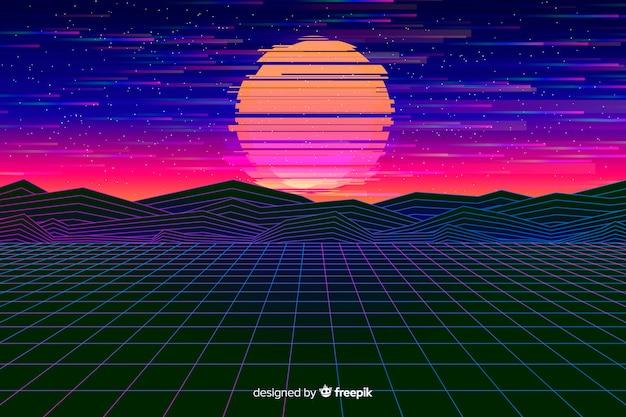 Retro futurystyczny krajobraz tło płaski kształt