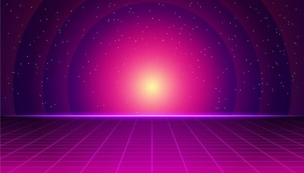Retro futurystyczny krajobraz z neonowym zachodzie słońca. synthwave retro tło. retrofitowa grafika komputerowa i koncepcja science fiction.