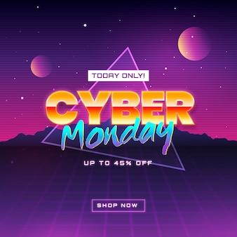 Retro futurystyczny tło cyber poniedziałek