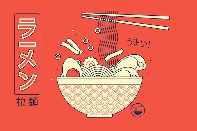 Retro geometryczne tło zupa ramen