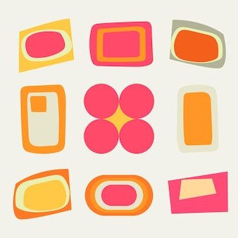 Retro geometryczny kształt naklejki, prosty kolorowy zestaw wektorów clipart