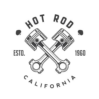 Retro godło hot rod, logo, znaczek.