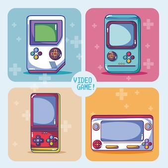 Retro gra wideo konsole wektorowy ilustracyjny graficzny projekt