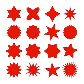 Retro gwiazdy symbole sunburst vintage ikony promieni słonecznych czerwone etykiety handlowe sprzedaż lub naklejki rabatowe