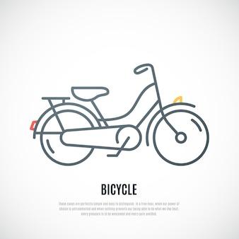 Retro ikona roweru na białym tle