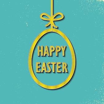 Retro ilustracja jajko wielkanocne na tło wakacje. karta w stylu kreatywnym i vintage