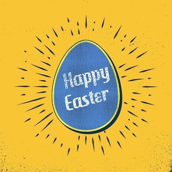 Retro ilustracja karta jajko wielkanocne na tło wakacje. obraz w stylu kreatywnym i vintage