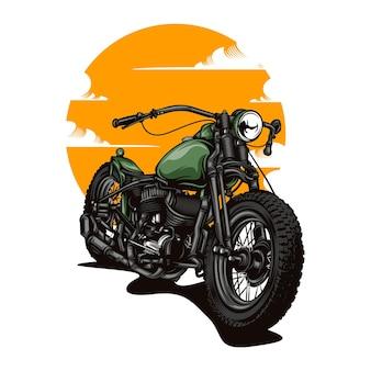 Retro ilustracja motocykla z jednolitym kolorem