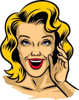 Retro ilustracja piękny kobiet krzyczeć