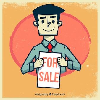 Retro ilustracja sprzedawca