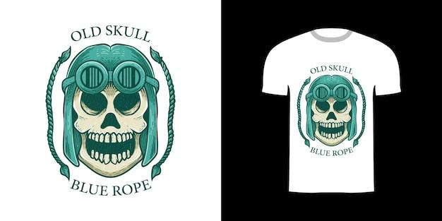 Retro ilustracja stara czaszka i lina do projektowania koszulek