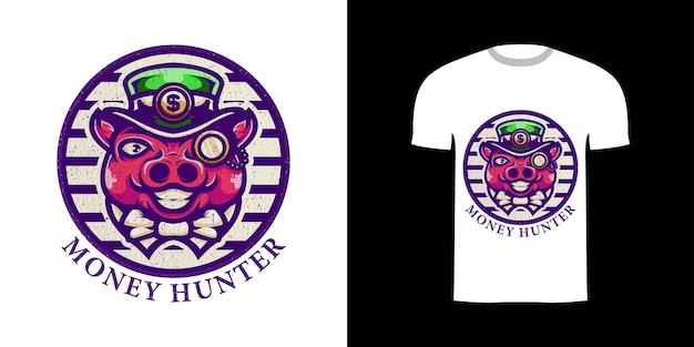 Retro ilustracja świnia łowca pieniędzy z ornamentem grawerującym do projektu koszulki