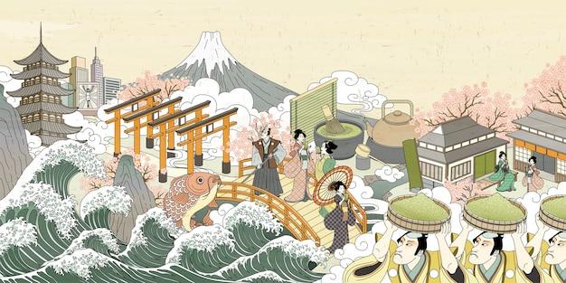 Retro japan uliczna sceneria w stylu ukiyo-e, ludzie niosący zielony proszek i delektujący się napojem