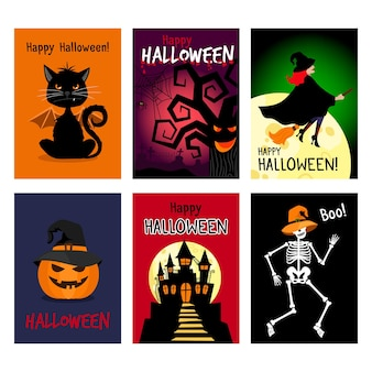 Retro jesienne plakaty halloween. noc wektor halloween ulotki zestaw ilustracji wektorowych