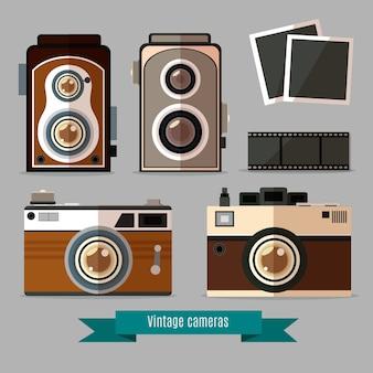 Retro kamery i akcesoria w płaskiej konstrukcji