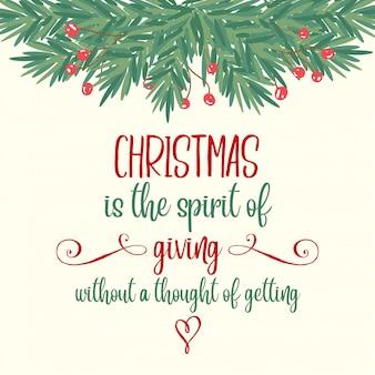 Retro kartka bożonarodzeniowa z gałąź i życzeniami