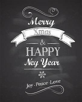 Retro kartkę z życzeniami wesołych świąt i szczęśliwego nowego roku z tablicą w tle.