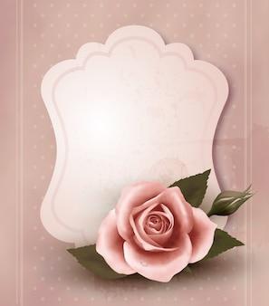 Retro kartkę z życzeniami z różową różą