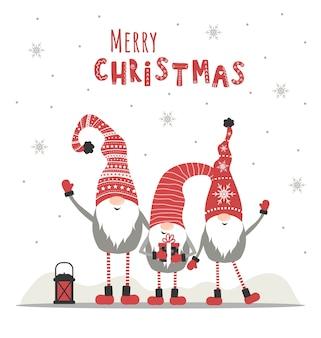 Retro kartki świąteczne z gnomami. powitanie sezonu.