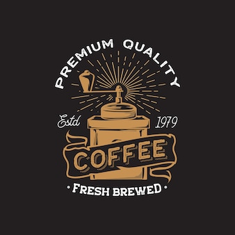 Retro kawiarnia i kawiarnia ręka rysunek logo