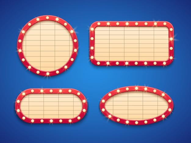 Retro kino lub teatr światła markizy transparent.