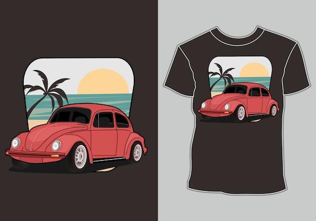Retro, klasyczny samochód do nadruku na koszulce