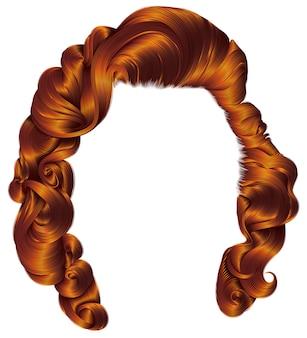 Retro kobieta włosy czerwone kolory. moda uroda.