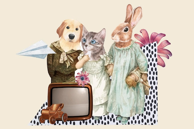 Retro kolaż estetyczny wektor, urocza ilustracja zwierzęca sztuka mieszana