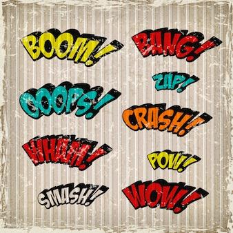 Retro kolorowe komiczne efekty dźwiękowe ustawione na tle grunge