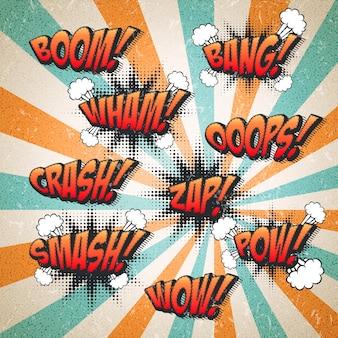 Retro komiksowe efekty dźwiękowe na atrakcyjnym tle w paski