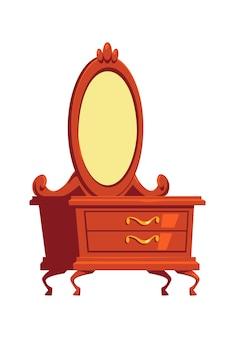 Retro komoda, toaletka z lustrem, ilustracja kreskówka element wnętrza drewnianych mebli