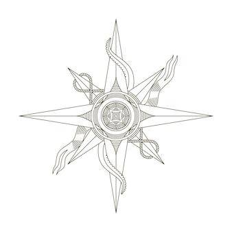Retro kompas żeglarski. antyczny morski stary wektor znak.