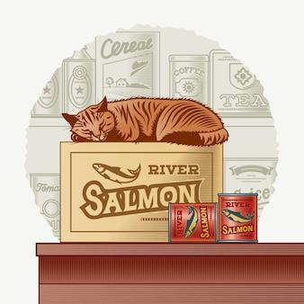 Retro konserwy rybne i śpiący kot