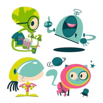 Retro kreskówki naklejki science fiction