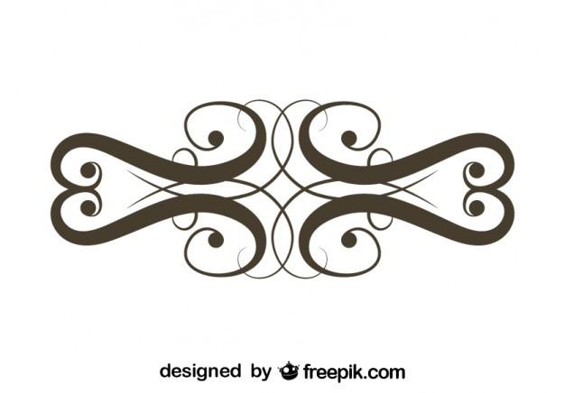 Retro kwiatowy element graficzny ozdobny symetryczne