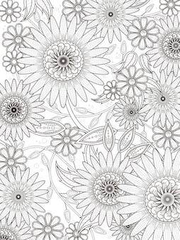 Retro kwiatowy kolorowanka w wykwintnej linii