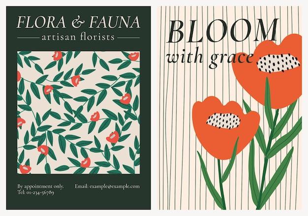 Retro kwiatowy wzorzysty szablon wektor zestaw na plakat