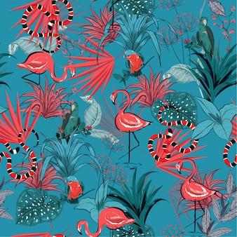 Retro lato tropikalni kwiaty, bezszwowy wektor