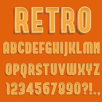 Retro litery alfabetu 3d, cyfry i symbol
